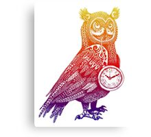 Great Horned Owl with Pocket Watch - Rainbow Canvas Print