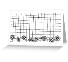 Flowers And Grid Black/White Greeting Card