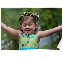 Joyful Flower Girl Poster