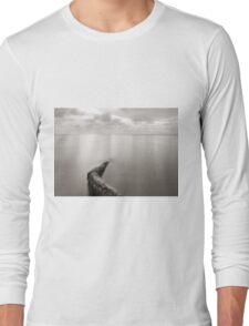 Long exposure seascape with fallen palm tree Long Sleeve T-Shirt