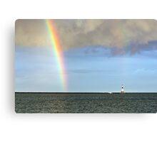 Rainbow and Conneaut Lighthouse Canvas Print