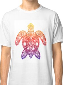 Rainbow Sea Turtle - Zentangle Classic T-Shirt