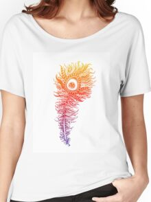 Rainbow Themed Zentangle Peacock Feather Women's Relaxed Fit T-Shirt
