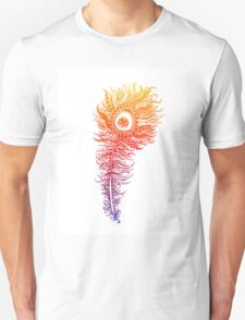 Rainbow Themed Zentangle Peacock Feather Unisex T-Shirt