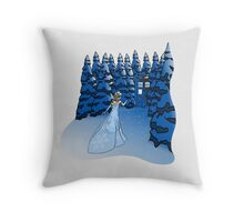 The Blue Box in the Snow Throw Pillow