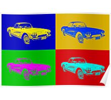 1962 Chevrolet Corvette Convertible Pop Art Poster