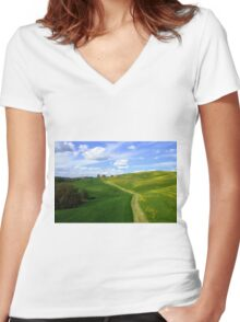 Tuscany landscapes  Women's Fitted V-Neck T-Shirt