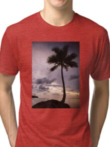 Palm tree with Retro summer filter effect Tri-blend T-Shirt