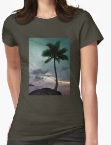Palm tree with Retro summer filter effect Womens Fitted T-Shirt