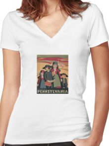 Rural Pennsylvania - Vintage Wpa Travel Women's Fitted V-Neck T-Shirt