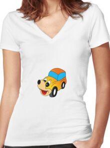 happy car Women's Fitted V-Neck T-Shirt