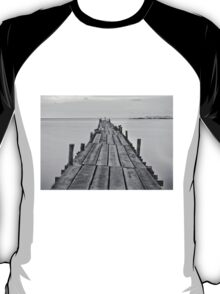 Black and white photography of a beach wooden pier T-Shirt