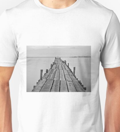 Black and white photography of a beach wooden pier Unisex T-Shirt