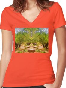 Green gardens Women's Fitted V-Neck T-Shirt