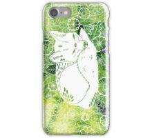 Zen Fox Green with Flower Pattern iPhone Case/Skin