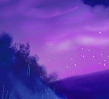 rainy meadow- night Sticker