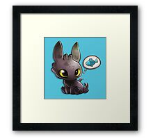 hungry Baby Toothless Dragon Framed Print
