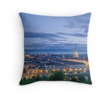 Turin (Torino), panorama at twilight Throw Pillow
