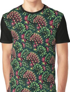 Cactus Floral - Green/Black/Pink Graphic T-Shirt