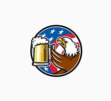 Bald Eagle Hoisting Beer Stein USA Flag Circle Retro Unisex T-Shirt