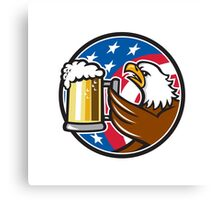 Bald Eagle Hoisting Beer Stein USA Flag Circle Retro Canvas Print
