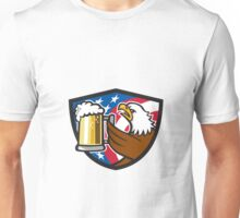 Bald Eagle Hoisting Beer Stein USA Flag Crest Retro Unisex T-Shirt