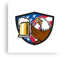 Bald Eagle Hoisting Beer Stein USA Flag Crest Retro Canvas Print