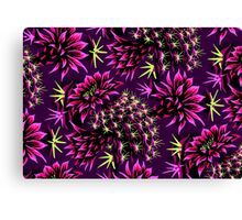 Cactus Floral - Purple/Black/Green Canvas Print