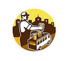 Bartender Beer City Van Circle Retro Photographic Print