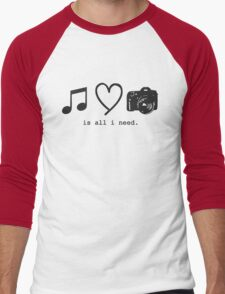 Music, Love, and Photography Men's Baseball ¾ T-Shirt