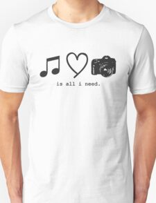 Music, Love, and Photography Unisex T-Shirt