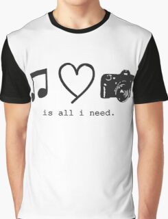 Music, Love, and Photography Graphic T-Shirt
