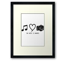 Music, Love, and Photography Framed Print