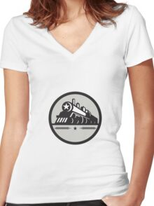 Steam Train Locomotive Star Circle Retro Women's Fitted V-Neck T-Shirt