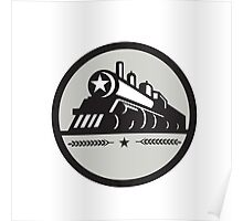 Steam Train Locomotive Star Circle Retro Poster
