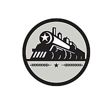 Steam Train Locomotive Star Circle Retro Photographic Print