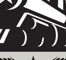 Steam Train Locomotive Star Circle Retro Sticker