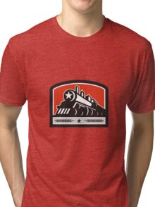 Steam Train Locomotive Star Crest Retro Tri-blend T-Shirt