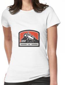Steam Train Locomotive Star Crest Retro Womens Fitted T-Shirt