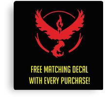 free matching decal with every purchase moltres logo Canvas Print