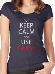 Keep Calm And Use Geass Anime Manga Shirt Women's Fitted Scoop T-Shirt