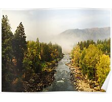 Foggy Autumn River Poster