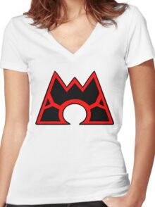 Team Magma (Style B) Women's Fitted V-Neck T-Shirt