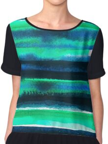 Abstract blue green and black watercolor painting pattern Chiffon Top