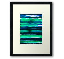 Abstract blue green and black watercolor painting pattern Framed Print