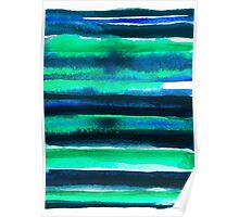 Abstract blue green and black watercolor painting pattern Poster