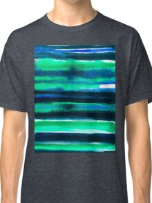 Abstract blue green and black watercolor painting pattern Classic T-Shirt