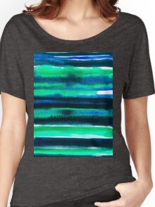 Abstract blue green and black watercolor painting pattern Women's Relaxed Fit T-Shirt