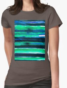 Abstract blue green and black watercolor painting pattern Womens Fitted T-Shirt