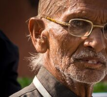 Indian old man wearing glasses Sticker